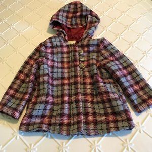 Crazy8 Girls Pink Plaid Hooded Jacket Zip Up 2T 3T